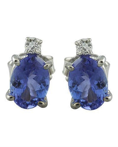 3.26 Carat Tanzanite 14K White Gold Diamond Earrings