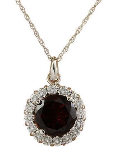 1.82 Carat Garnet 14K White Gold Diamond Necklace