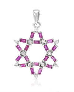Brand New Pendant with 1.54ctw of Precious Stones - diamond and ruby 14K White gold