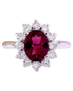 2.93 Carat Natural Tourmaline 14K Solid White Gold Diamond Ring