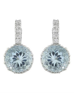 5.10 Carat Aquamarine 14K White Gold Diamond Earrings