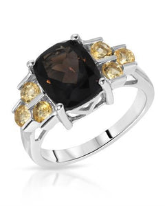 Brand New Ring with 3.45ctw of Precious Stones - citrine and quartz 925 Silver sterling silver