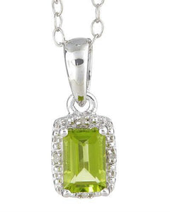 Brand New Necklace with 0.61ctw of Precious Stones - diamond and peridot 925 Silver sterling silver