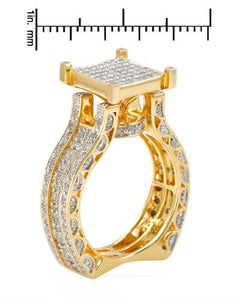 Lundstrom Brand New Ring with 1.4ctw diamond 14K/925 Two tone Gold plated Silver