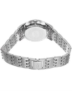 burgi BUR102SS Brand New Quartz date Watch with 0.05ctw of Precious Stones - crystal and diamond