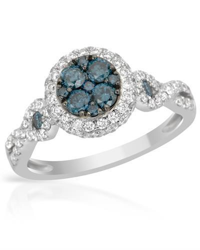 Brand New Ring with 1.09ctw of Precious Stones - diamond and diamond 14K White gold