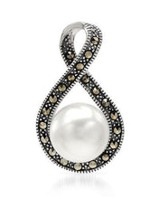 Load image into Gallery viewer, Brand New Pendant with 0ctw of Precious Stones - faux pearl and marcasite 925 Silver sterling silver