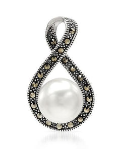 Brand New Pendant with 0ctw of Precious Stones - faux pearl and marcasite 925 Silver sterling silver