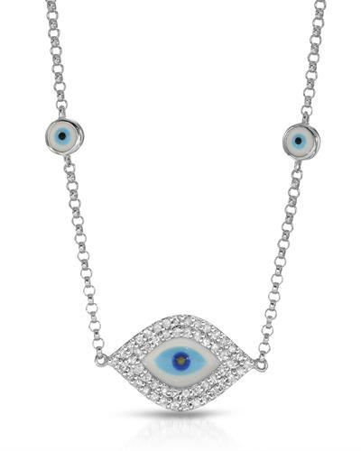 Brand New Necklace with 0.34ctw diamond  Multicolor Enamel and 14K White gold