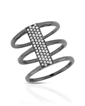 Load image into Gallery viewer, Brand New Ring with 0.33ctw diamond 925 Black sterling silver