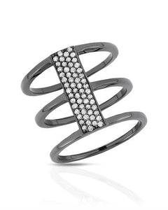 Brand New Ring with 0.33ctw diamond 925 Black sterling silver