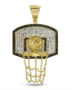 Brand New Pendant with 1.25ctw of Precious Stones - diamond and diamond 14K/925 Yellow Gold plated Silver