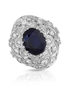 Lundstrom Brand New Ring with 10.31ctw of Precious Stones - diamond, sapphire, and sapphire 14K White gold