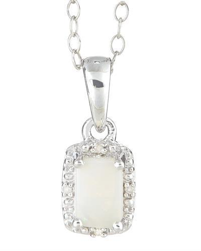 Brand New Necklace with 0.37ctw of Precious Stones - diamond and opal 925 Silver sterling silver