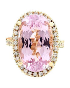 19.10 Carat Natural Kunzite 14K Solid Yellow Gold Diamond Ring