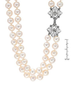 PEARL LUSTRE Brand New Necklace with 0.07ctw of Precious Stones - diamond and pearl 925 Silver sterling silver