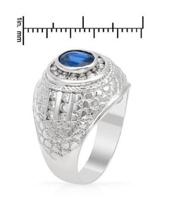 Brand New Ring with 2.34ctw of Precious Stones - diamond and sapphire 14K White gold