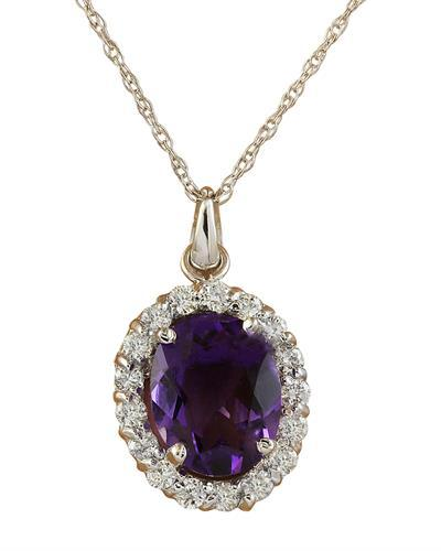 2.00 Carat Amethyst 14K White Gold Diamond Necklace