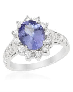 Brand New Ring with 2.8ctw of Precious Stones - diamond and tanzanite 14K White gold