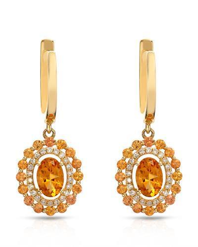 Brand New Earring with 1.53ctw of Precious Stones - citrine, diamond, and sapphire 14K Yellow gold