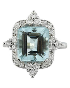5.05 Carat Aquamarine 14K White Gold Diamond Ring