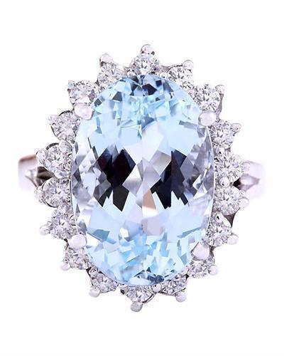 7.90 Carat Natural Aquamarine 14K Solid White Gold Diamond Ring