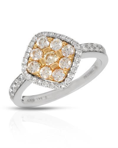 Brand New Ring with 0.95ctw of Precious Stones - diamond and diamond 18K Two tone gold
