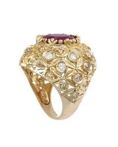 Lundstrom Brand New Ring with 8.28ctw of Precious Stones - diamond and ruby 14K Yellow gold