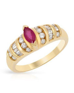 Brand New Ring with 0.86ctw of Precious Stones - diamond and ruby 14K Yellow gold