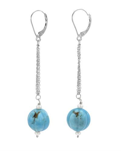 PEARL LUSTRE Brand New Earring with 0ctw of Precious Stones - pearl and turquoise 14K White gold