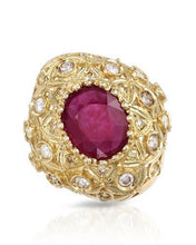 Load image into Gallery viewer, Lundstrom Brand New Ring with 8.28ctw of Precious Stones - diamond and ruby 14K Yellow gold