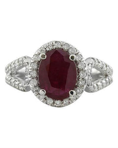2.30 Carat Ruby 14K White Gold Diamond Ring