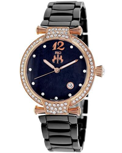 Jivago JV2215 Bijoux Brand New Quartz date Watch with 0ctw of Precious Stones - crystal and mother of pearl