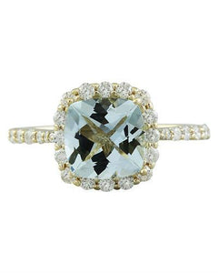 2.50 Carat Aquamarine 14K Yellow Gold Diamond Ring