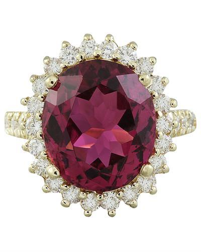 9.28 Carat Tourmaline 14K Yellow Gold Diamond Ring