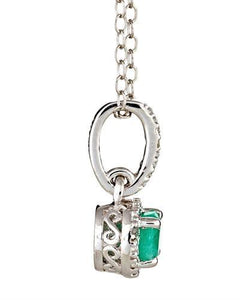 Brand New Necklace with 0.49ctw of Precious Stones - diamond and emerald 925 Silver sterling silver