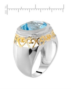 Brand New Ring with 8.7ctw topaz 925 Two tone sterling silver