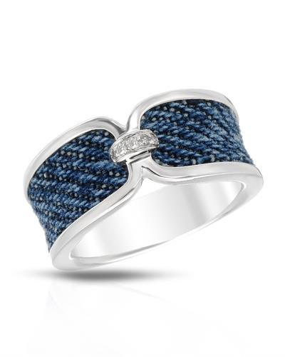 Di-Amanda Brand New Ring with 0.03ctw diamond  Blue Denim and 925 Silver sterling silver