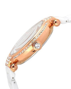 Jivago JV2216 Bijoux Brand New Quartz date Watch with 0ctw of Precious Stones - crystal and mother of pearl