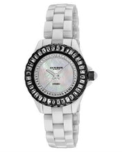 Load image into Gallery viewer, Akribos XXIV AK518BKW Brand New Japan Quartz Watch with 0ctw of Precious Stones - crystal and mother of pearl