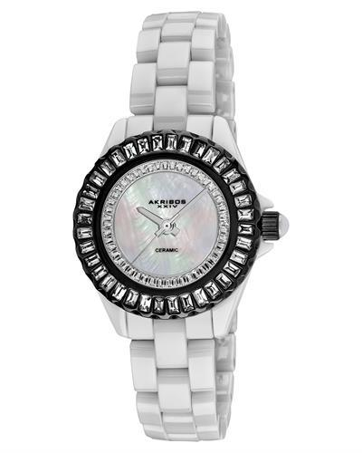 Akribos XXIV AK518BKW Brand New Japan Quartz Watch with 0ctw of Precious Stones - crystal and mother of pearl