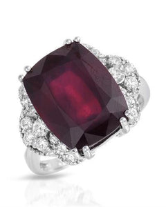 Lundstrom Brand New Ring with 11.56ctw of Precious Stones - diamond and ruby 14K White gold