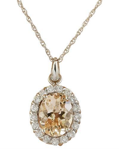 2.00 Carat Morganite 14K White Gold Diamond Necklace