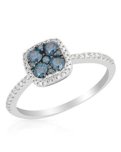 Brand New Ring with 0.51ctw of Precious Stones - diamond and diamond 14K White gold