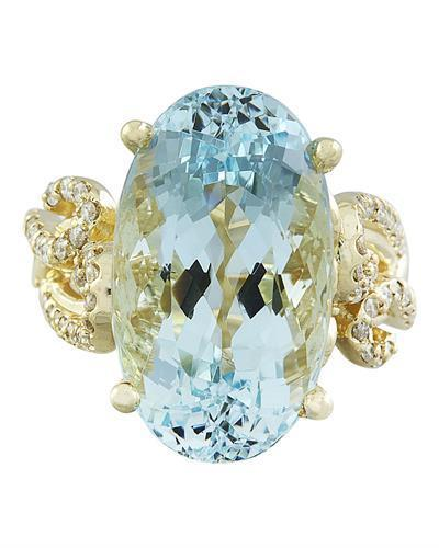 14.25 Carat Aquamarine 14K Yellow Gold Diamond Ring