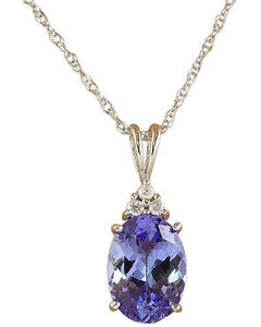 3.20 Carat Tanzanite 14K White Gold Diamond Necklace