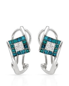 Brand New Earring with 0.87ctw of Precious Stones - diamond and diamond 14K White gold