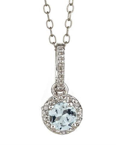 Brand New Necklace with 0.42ctw of Precious Stones - aquamarine and diamond 925 Silver sterling silver
