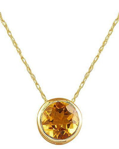 1.50 Carat Citrine 14K Yellow Gold Necklace