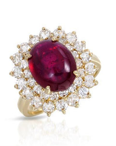 Lundstrom Brand New Ring with 7.38ctw of Precious Stones - diamond and ruby 14K Yellow gold